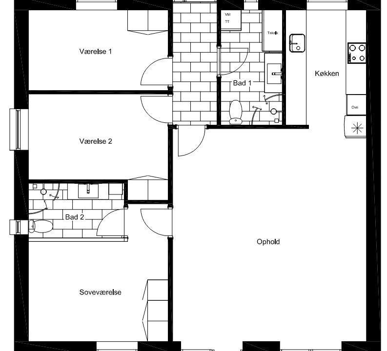Type A - 110 m2, stueplan plantegning